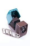 Cinematografia-projetor retro no fundo branco foto de stock