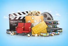 Cinematograph in cinema films. And popcorn Stock Image