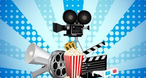 Cinematograph in cinema films and popcorn. Illustration of cinematograph in cinema films and popcorn Stock Images