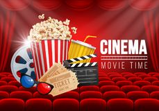 Cinema Hall. Cinematograph concept banner design template with popcorn and other elements on cinema theme on background with red seats and curtain. Vector vector illustration