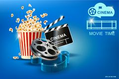 Cinematograph, popcorn for movie theater and online cinema, reel with film, online cinema, cinema concept banner, strip. Cinematograph, popcorn for movie theater stock illustration