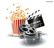 Cinematograph, popcorn for movie theater and online cinema, reel with film, online cinema, cinema concept banner, strip. Cinematograph, popcorn for movie theater Stock Image