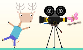 Cinematographer. A butterfly having a video shoot with a deer royalty free illustration