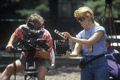 Cinematographer with equipment filming music video, Chicago, Ill Royalty Free Stock Photo