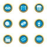 Cinematographer icons set, flat style. Cinematographer icons set. Flat set of 9 cinematographer vector icons for web isolated on white background Stock Photos