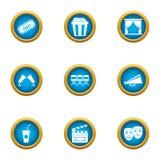 Cinematographer icons set, flat style. Cinematographer icons set. Flat set of 9 cinematographer vector icons for web isolated on white background Stock Image