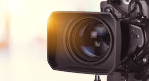 Cinematography. Action bright broadcast camcorder camera cameraman royalty free stock images
