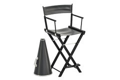 Cinematography concept, chair with megaphone. 3D rendering Royalty Free Stock Image
