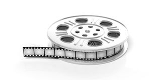 Film movie reel, isolated on a white background, 3d illustration. Cinematography concept. Film movie reel, isolated on a white background, 3d illustration royalty free illustration