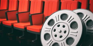 Film movie reels with blurry red theater seats background, copy space, 3d illustration. Cinematography concept. Film movie reels with blurry red theater seats royalty free illustration