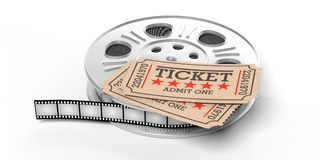 Film reel with retro cinema tickets on top, isolated on a white background, 3d illustration. Cinematography concept. Film reel with retro cinema tickets on top vector illustration