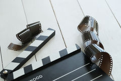 Cinematography. Director`s cut board on a table stock photography
