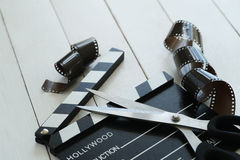 Cinematography. Director`s cut board on a table royalty free stock photo