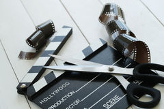 Cinematography. Director`s cut board on a table royalty free stock photography