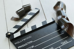 Cinematography. Director`s cut board on a table stock photos
