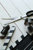 Cinematography. Director`s cut board on a table stock image