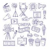 Cinematography doodle set. Video movie entertainment icons. Video cinema multimedia, movie film illustration Royalty Free Stock Photos