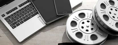 Film movie reels, laptop, tablet and smartphone, on a white wooden background, 3d illustration. Cinematography and electronic devices. Film movie reels, laptop royalty free illustration