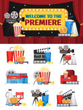 Cinematography Elements Concept. With cinema building equipment tickets furniture and snacks isolated vector illustration Royalty Free Stock Image