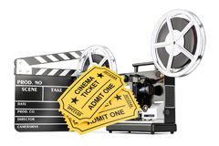 Cinematography, film industry concept. 3D rendering. Isolated on white background Stock Photos