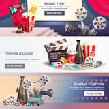 Cinematography Flat Horizontal Banners Royalty Free Stock Images