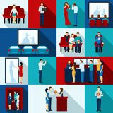 Cinematography  Icons With People Watching Film. Cinematography  icons with  auditorium people watching film service personnel   flat  isolated vector Royalty Free Stock Photography