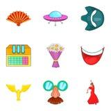 Cinematography icons set, cartoon style. Cinematography icons set. Cartoon set of 9 cinematography vector icons for web isolated on white background Stock Image