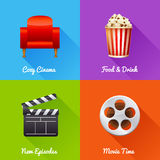 Cinematography set of square movie banners Royalty Free Stock Photography