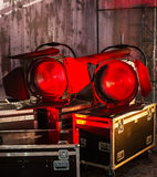 Cinematography spotlight. Professional equipment with red light stock images