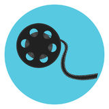 Cinematography video bobbin with cinema tape. Film reel icon. Cinematography symbol for print, design, banners Stock Photography