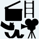 Cinematography. Video camera and film frame. On blue background. Vector silhouettes Stock Photo