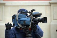 Cineoperatore nell'azione Fotografie Stock