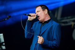 Cinerama singer and songwriter performs at Primavera Sound 2015. BARCELONA - MAY 27: Cinerama singer and songwriter performs at Primavera Sound 2015 Festival Royalty Free Stock Photography