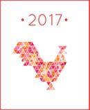 Cinese 2017 anni di gallo rosso Concetto dell'uccello del gallo Illustrazione Vettoriale