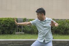 Cinese asiatico KongFu dell'esposizione del giovane Fotografia Stock