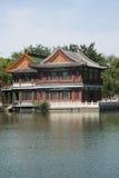 Cinese asiatico, parco di Pechino, lago Longtan, costruzioni antiche Immagini Stock