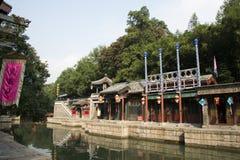 Cinese asiatico, Pechino, il palazzo di estate, via di Suzhou, costruzioni antiche Immagine Stock Libera da Diritti