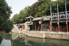 Cinese asiatico, Pechino, il palazzo di estate, via di Suzhou, costruzioni antiche Immagini Stock Libere da Diritti