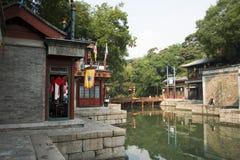Cinese asiatico, Pechino, il palazzo di estate, via di Suzhou, costruzioni antiche Immagine Stock