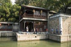 Cinese asiatico, Pechino, il palazzo di estate, via di Suzhou, costruzioni antiche Fotografie Stock