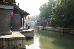 Cinese asiatico, Pechino, il palazzo di estate, via di Suzhou, costruzioni antiche Fotografie Stock Libere da Diritti