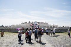 Cinese asiatico, Pechino, parco di Tiantan, l'altare circolare del monticello, costruzioni storiche Immagini Stock