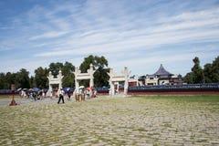 Cinese asiatico, Pechino, parco di Tiantan, l'altare circolare del monticello, costruzioni storiche Immagine Stock
