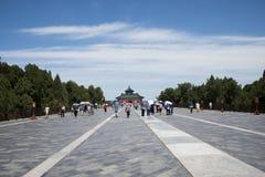 Cinese asiatico, Pechino, parco di Tiantan, monumenti storici Fotografia Stock