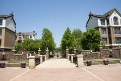 Cinese dell'Asia, Pechino, architettura europea, cima di bello ¼ Œ del townï della molla Immagine Stock