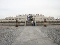 Cinese dell'Asia, Pechino, parco di Tiantan, costruzione del giardino, altare circolare del monticello Fotografia Stock Libera da Diritti