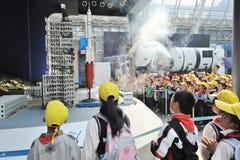 cinese lanuch主要火箭学校学员访问 免版税库存图片