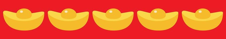Cinese New Year symbol atribute. Gold Ingot line set. Golden bar icon. Greeting card. Flat design. Red background. Isolated. Vector illustration vector illustration