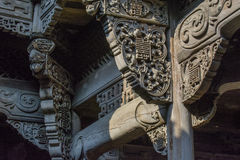 Cinese Qing Dynasty Wood Carving Architecture fotografia stock libera da diritti