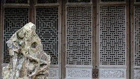 Cinese Qing Dynasty Wood Carving Architecture fotografia stock